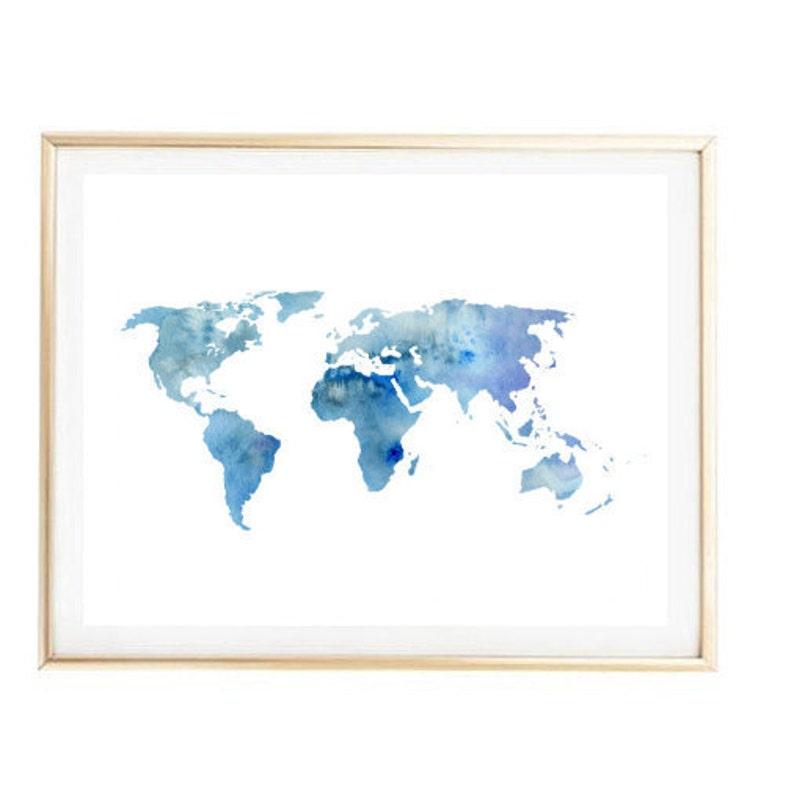 Blue World Map Painting Map Art Print Room Decor Typographic Etsy