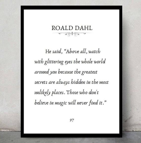 Roald Dahl Quote Room Decor Love Inspirational Tumblr Etsy