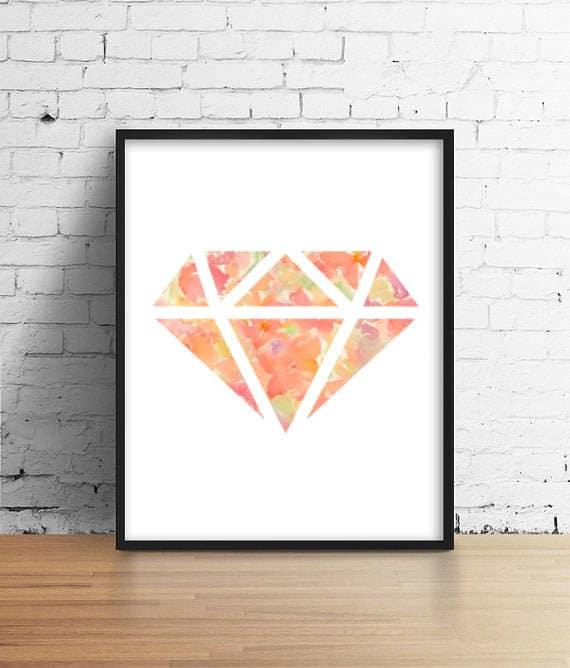 Floral Diamant Make Up Kunst Malerei Druckraum Dekor Die Etsy