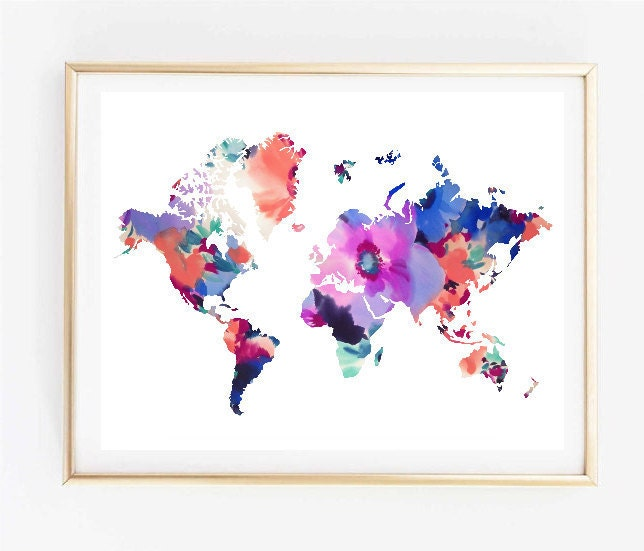 Map Art Floral World Map Painting Map Art Print Tumblr Art Typographic Print Decor Quote Travel Poster Tumblr Room Decor 8x10