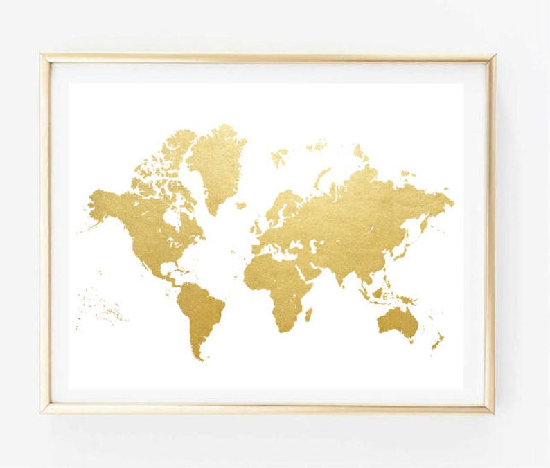 Faux Gold World Map Painting Art Print Room Decor Typographic Etsy
