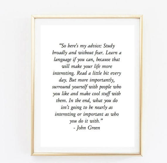 John Green Love Quotes: John Green Quote Room Decor Love Inspirational Tumblr