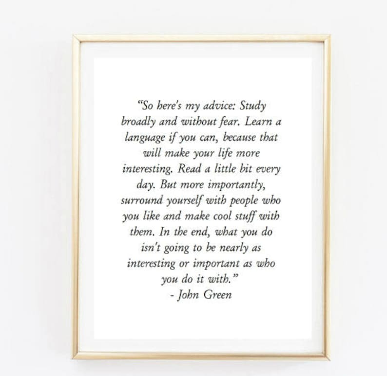 John Green Quote Room Decor Love Inspirational Tumblr Quote Etsy