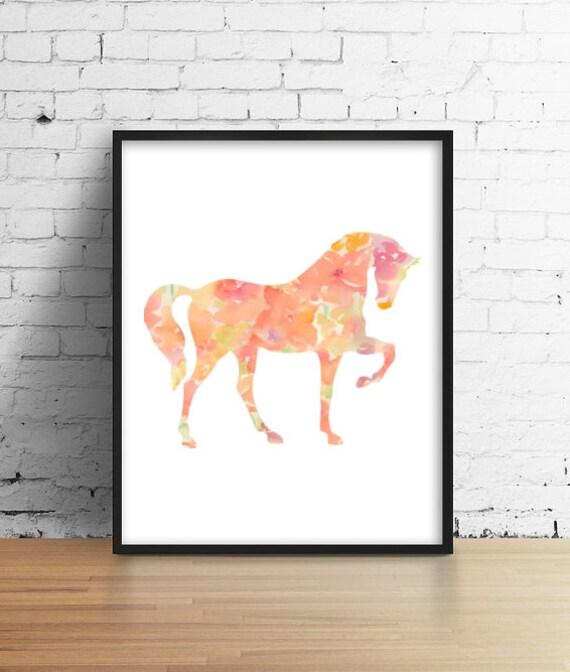 caballos flores vivero arte pintura impresión decoración de la   Etsy