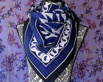 Khanga, Khanga Scarf, African Fabric, Shuka.  Blue, White Black Sarong, Floral Beach Wrap, Over sized Scarf, Cotton Fabric. Baby Sling Kanga