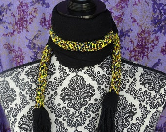 Beaded Masai Scarf, Beaded Statement Necklace, African Scarf, Black Accessories