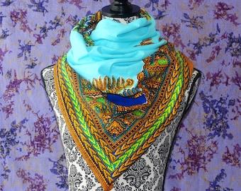 Baby Blue Dashiki, African Print Scarf, Ankara Scarf, Wax Print, Kitenge Headwrap, African Fabric, African Head Wrap, Batik, Turban, Shawl