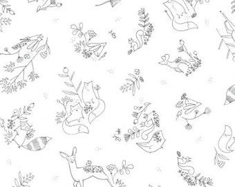 Woodland Frolic on White, Timberland, from Dear Stella