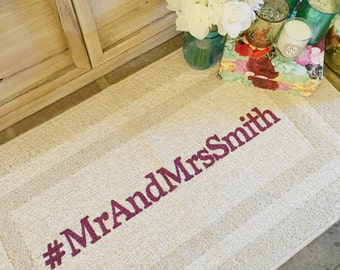 Personalized Wedding Hashtag Doormat, Door mat, Area Rug, Hand Painted  // Custom Wedding Hashtag Sign 20x34 by Be There in Five