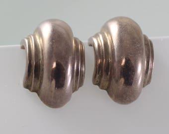 5290c5658 Barra Mod Modernist Vintage Sterling Earrings Half Hoop Clip on