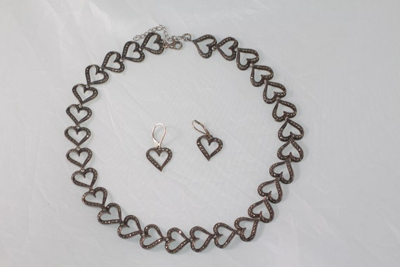 Marcasite Open Heart Sterling Silver Chain Link In