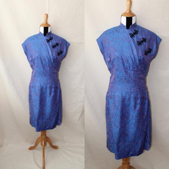 1940s Cheongsam Violet Silk Brocade Dress, 1950s A
