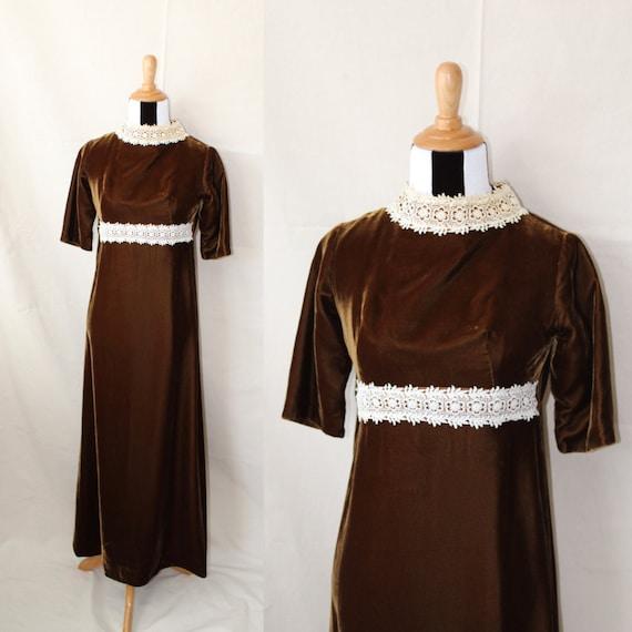 1960s Brown Velvet Gown, Full Length Velvet Dress,
