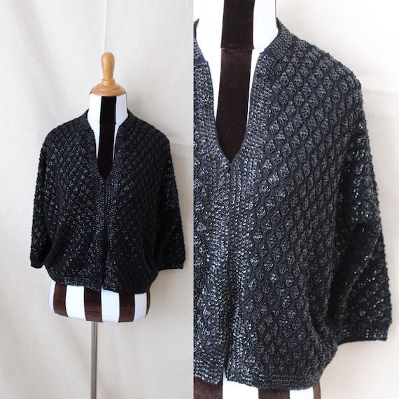 1950s Black Beaded Sequined Sweater | Midcentury B