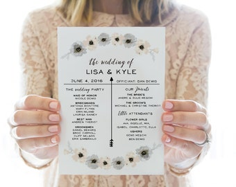 Printed OR Printable Wedding Program // Floral Arrow 2