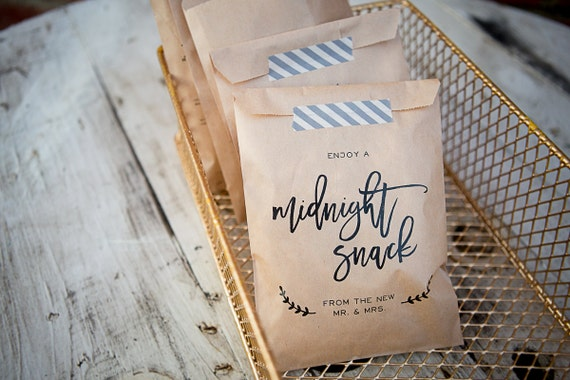 Unusual Wedding Gifts Australia: 20 Bags // Midnight Snack Craft Paper Bag // Favor Bag
