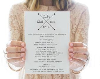 Printed OR Printable wedding program // Double Arrows