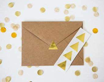 48 Metallic Gold Stickers // Triangle