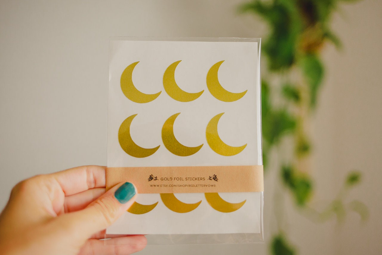 36 gold foil stickers moon stickers