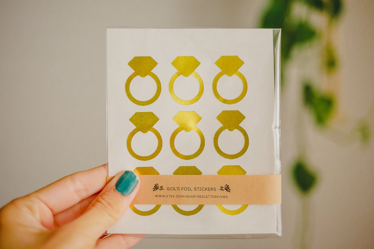 36 gold foil stickers ring stickers bachelorette sticker bridal party sticker