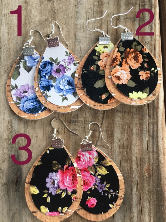 Faux leather earrings Floral Floral fashion Leather earrings Speckled floral earrings.