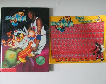 d2311883eeab1b Set Of Two (2) Vintage   Retro 1996 Space Jam Featuring Michael Jordan And  Looney Tunes Hardcover Book And Paper Back Magic Eye Book