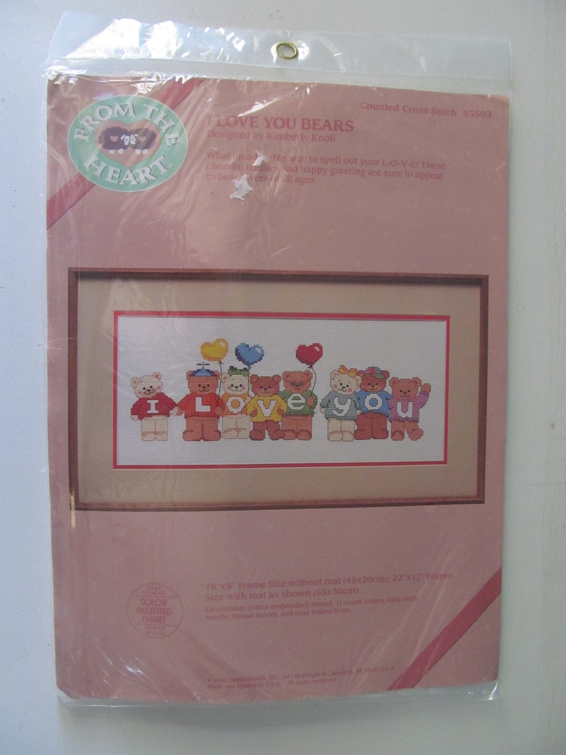Brand New  NIB 1986 From The Heart I Love You Bears Counted Cross Stitch Needlepoint Kit Sewing Decoration Arts /& Craft 53503