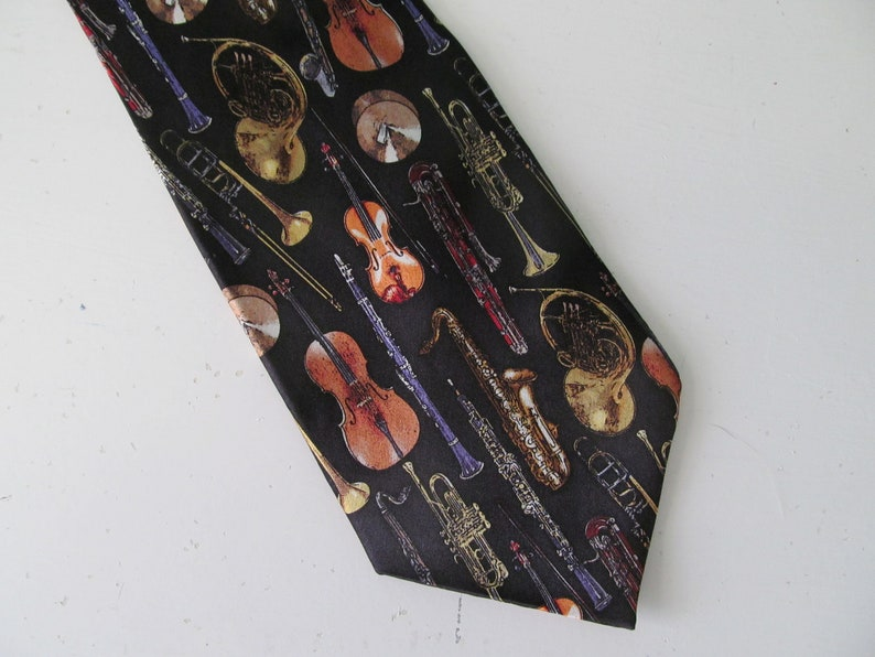 Vintage / Retro Series Orchestra Music Musical Instruments Classical  Musician Necktie By Museum Artifacts Style #1154 Silk Tie