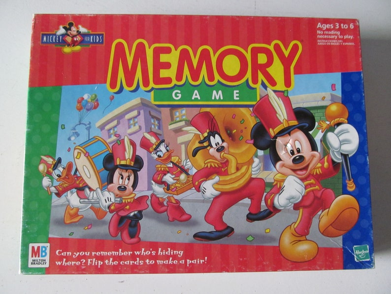 Vintage / Retro 1998 Disney Mickey For Kids Mickey Mouse Marching Band  Memory Game Mickey Ears Shaped Cards By Milton Bradley MB
