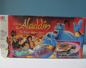Vintage / Retro 1992 Disney's Aladdin The Magic Carpet Board Game By Milton Bradley MB Featuring The Flying Carpet