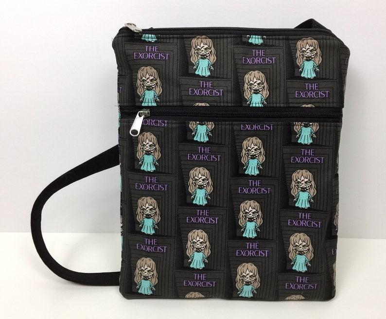 Purse Spooky Halloween Creepy The Exorcist Licensed Fabric Crossbody Bag with Zipper Cross Body Bag Horror Movie Fan Gift Handbag