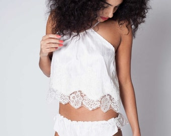 Beautiful Luxurious Raw Silk and Lace Bridal Camisol