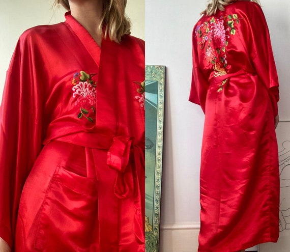 Pure Silk Red Embroidered Chinese Oriental Dressin