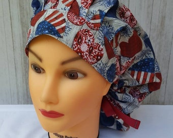 Patriotic//4th of July Township Women/'s Ponytail Surgical Scrub Hat//Cap Handmade