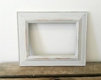 Wooden Picture Frame, Rustic Photo Frame, Distressed Frame, Pastel Grey 5x7 Photo Frame Nursery Decor, Shabby chic, Wedding frame
