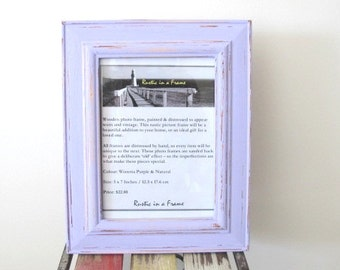 Rustic Frame Beach Distressed Frame Purple Wooden 5x7 Photo Frame Shabby chic picture frame