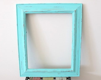 Picture Frame, Distressed Photo Frame, Rustic wooden Frame Spearmint Blue 8x10 Photo Frame Shabby chic frame, Wedding frame, Beach decor