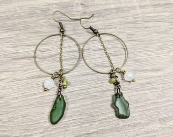 Olive green seaglass, peridot, and glass bead beachy earrings