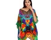 Short Tropical Bird Print silk Kaftan enhanced with Criss-cross Cold Shoulder Beach kaftan for women cover up short kaftan Tunic 374