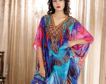 ec752be13e Deep Sea in Maccaw Bird Feather Print silk Kaftan patterned with  fascinating hand craft Beach kaftan dress one piece jeweled resort wear 286
