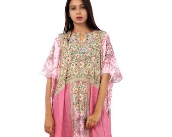 44545993cd5eb Beach Wear Cover Up Long Dress Womens Kaftan Silk Kaftan Maxi Dress Printed  One Piece Caftan Heavily Embellished New Silk