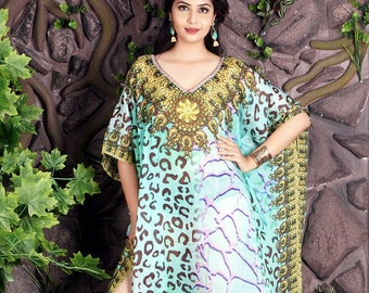 6cc85adc81 Beach kaftan dress for woman beaded/beach wear/one piece jeweled full length  kaftan/ Animal Print luxury resort wear dressy caftan 106sL