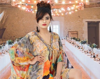 879ece1ba0 Silk kaftans Picasso inspired print deep neck full length jeweled kaftan  dress for Woman beach cover up caftan One size fits all 344