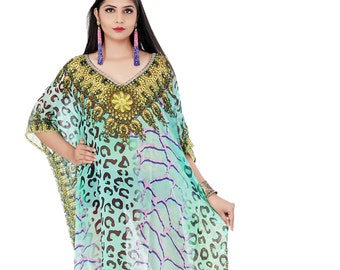 58e0680d72 Animal Print Beach kaftan dress for woman beaded/beach wear/one piece  jeweled full length kaftan/luxury resort wear dressy caftan 106sL