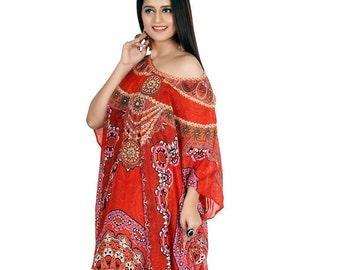 d10f275e25 Beach Wear Cover Up Long Dress Womens Kaftan Silk Kaftan Maxi Dress Printed  One Piece Caftan Heavily Embellished New Silk Resort Wear