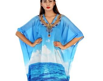 6e9b9877fe Beach Wear Cover Up Long Dress Womens Kaftan Silk Kaftan Maxi Dress Printed One  Piece Caftan Heavily Embellished New Silk Resort Wear