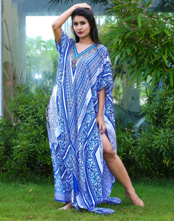 Fusion of Fashion and Folklore Printed Silk Kaftan of Full Length with Various Print Beach Wear Cover Up Long Dress Women evening Kaftan 218