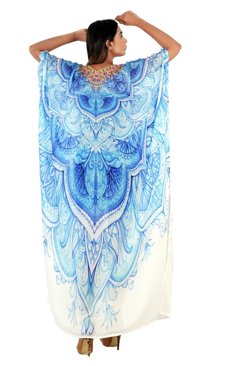 Ingenious Art Patterns printed Silk Kaftan in spellbind Azure Blue accompanied beads one size fits all Beach wear Kaftan buy online 303