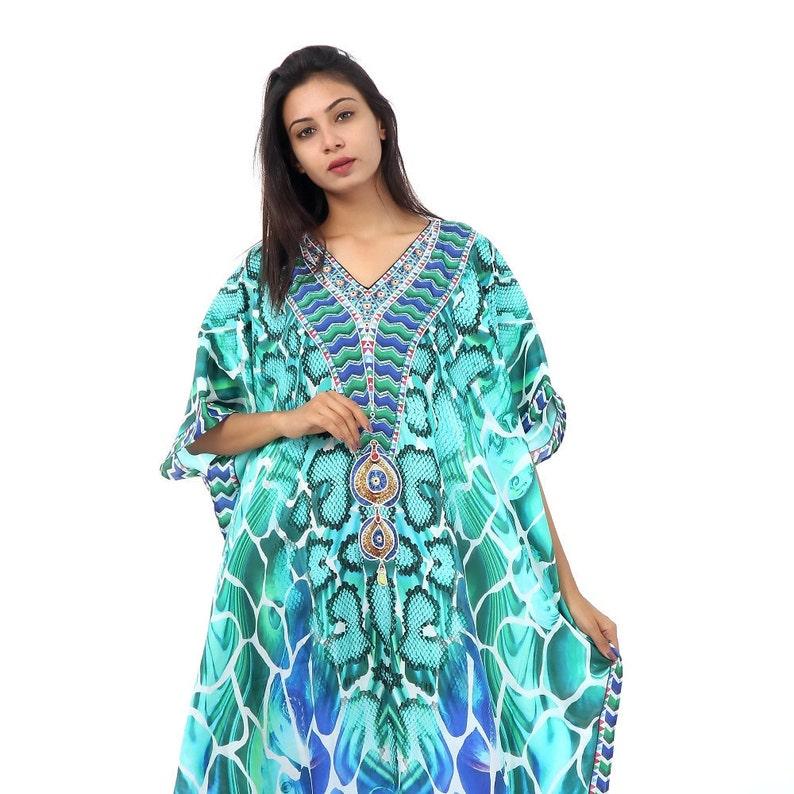 49cec657ed55 Silk kaftan online one piece dress on sale jeweled hand