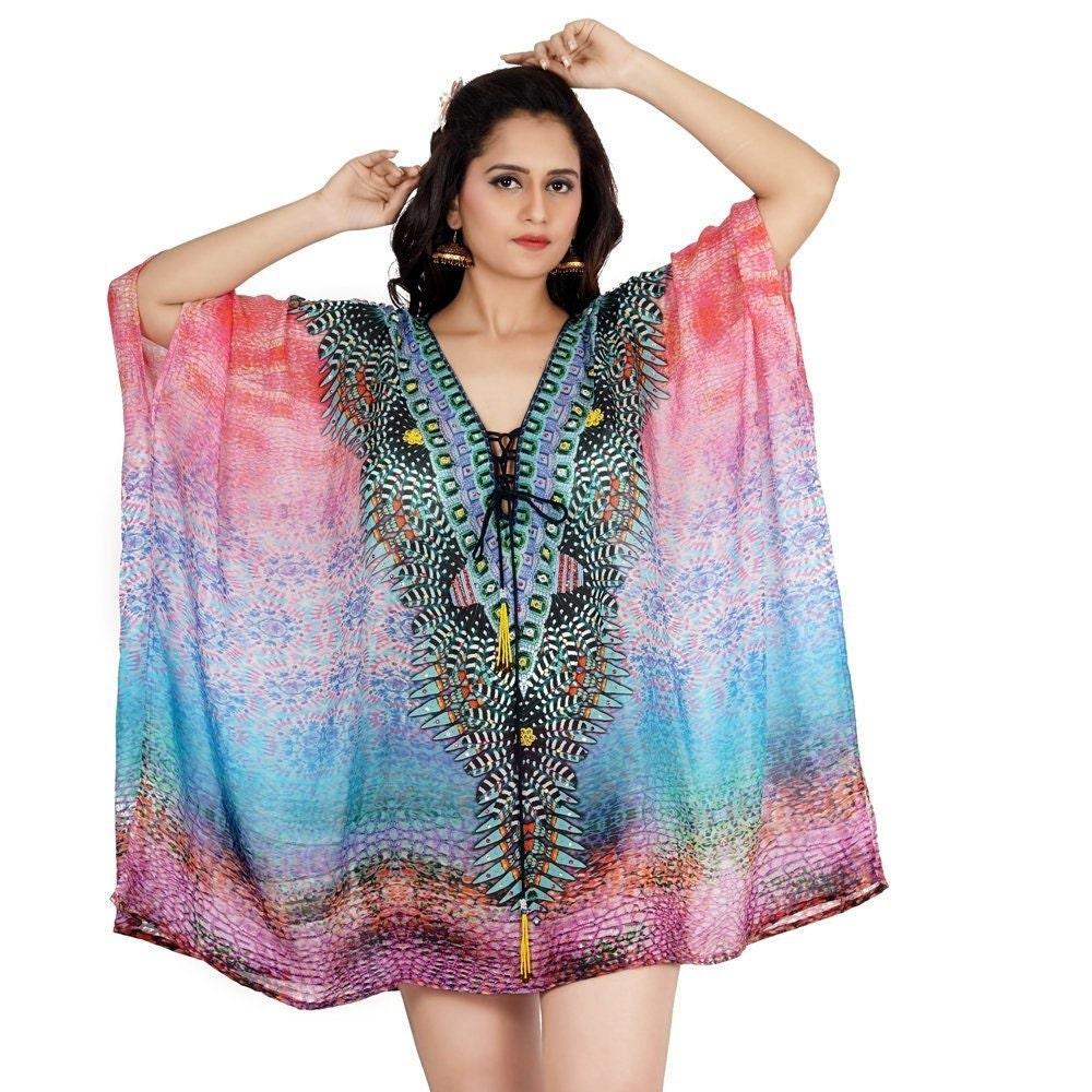 8dd6d17f79 Silk short Lace up deep neck kaftan for girls women high end